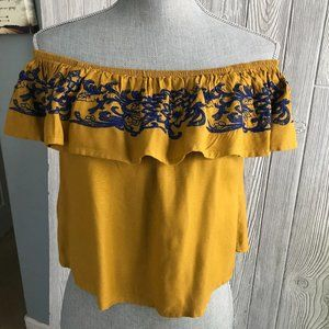 Mustard Embroidered off The Shoulder Top Small